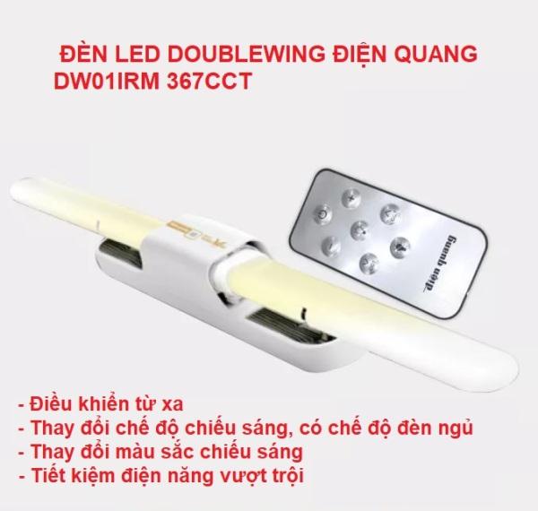 BỘ ĐÈN LED THÔNG MINH ĐIỆN QUANG ĐQ LED DW01IRM 367CCT, có thể điều chỉnh độ sáng & nhiệt độ màu bằng điều khiển từ xa remote, Doublewing SMART cực sáng tiết kiệm điện, thiết bị chiếu treo tường cao cấp xịn tốt chính hãng