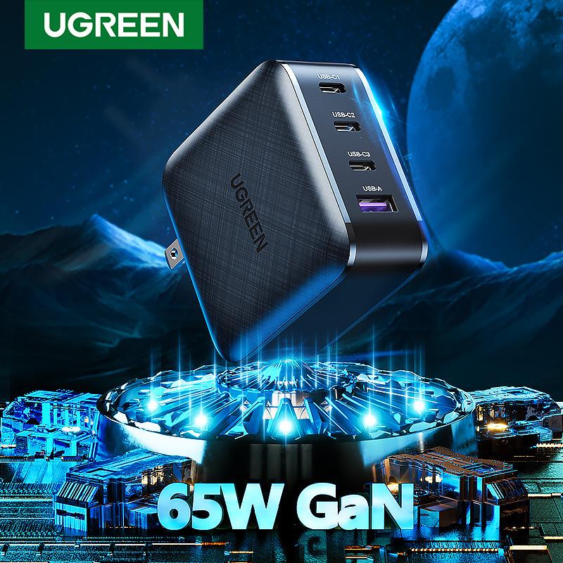 Cốc Sạc UGREEN 65W GaN 4 Cổng Sạc Nhanh Power PD 3.0 Dành cho iPhone Samsung Macbook
