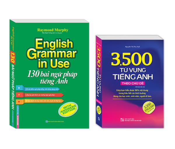 Trọn bộ (2 cuốn) 130 bài ngữ pháp tiếng Anh + 3500 từ vựng tiếng Anh theo chủ đề