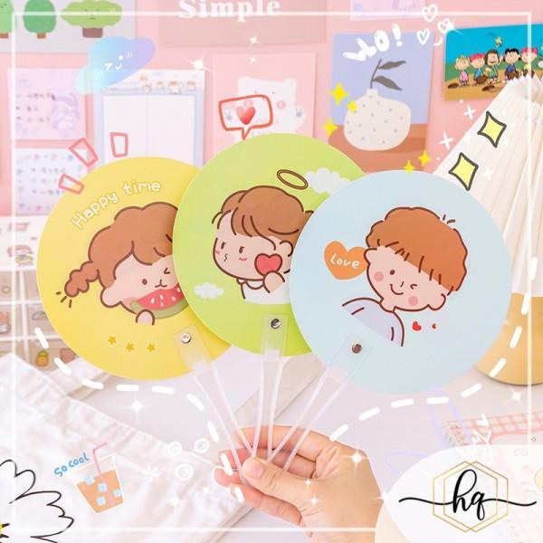 Quạt nhựa cầm tay mini hình tròn loại đẹp nhiều họa tiết phong cách Hàn Quốc du lịch đi học đi chơi