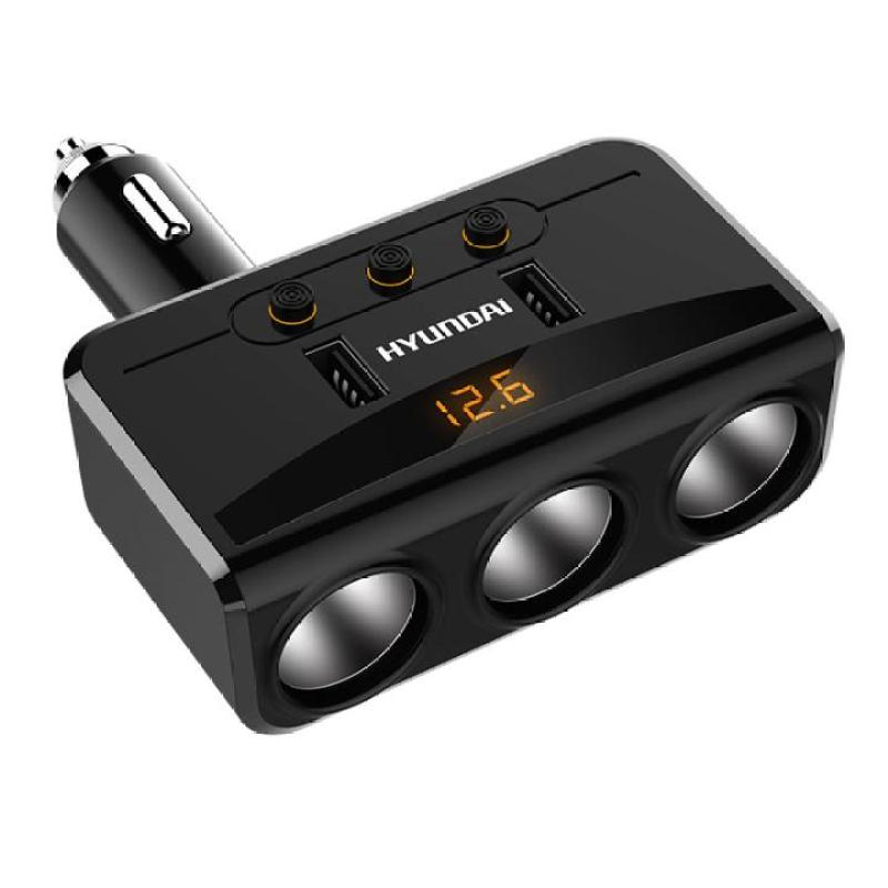 Bộ chia tẩu sạc ô tô, xe hơi HY-29 Tích 3 tẩu 2 cổng USB sạc nhanh 3.0 với điện áp 3.1A ( Màu đen)