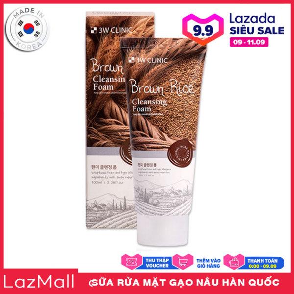 Sữa Rửa Mặt Gạo Nâu 3W Clinic Brown Rice Foam Cleansing 100ml