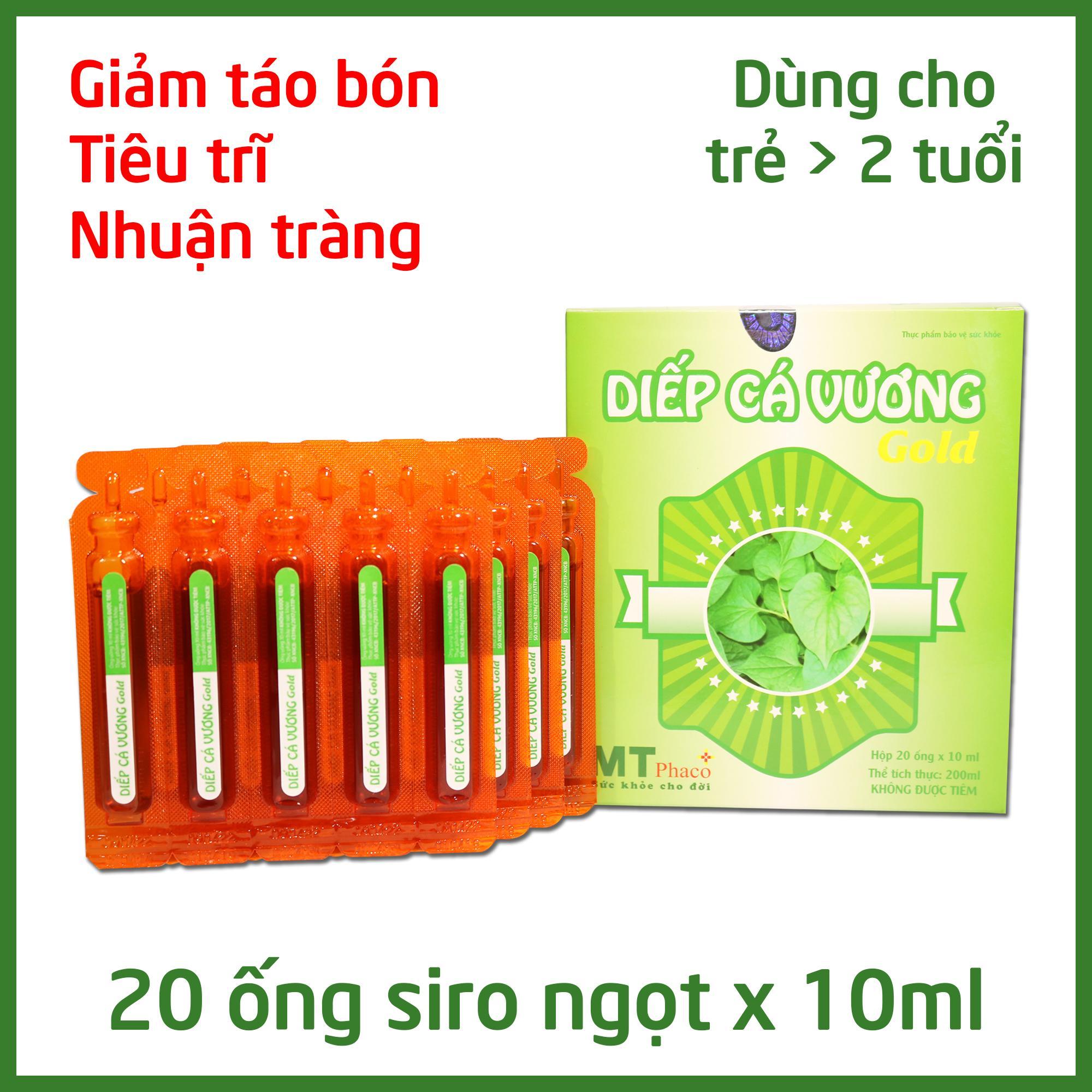 Diếp Cá Vương GOLD - Giảm Táo Bón Cho Bé, Tăng chất xơ - Dạng siro ngọt 20 ống x 10ml