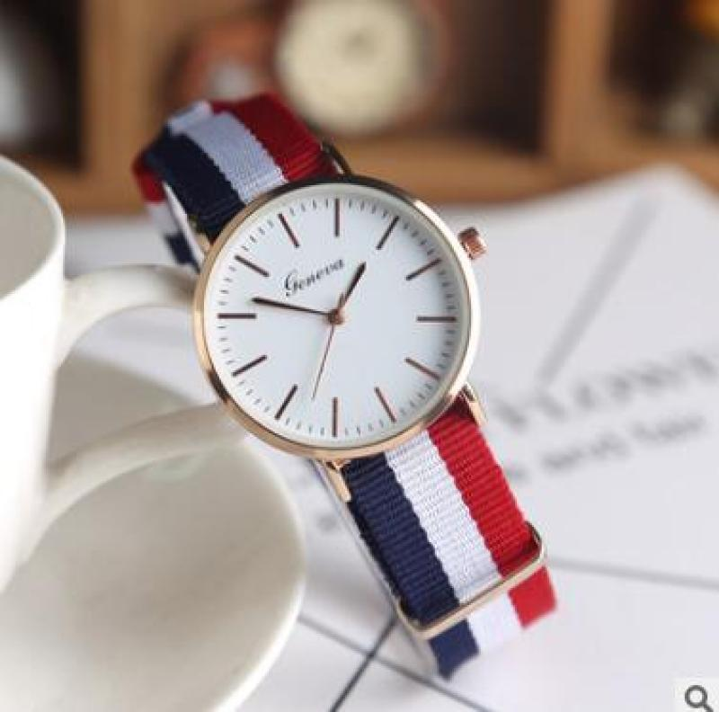 đồng hồ nữ dây vãi gemeve 3 sọc (đỏ)