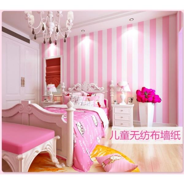 10 mét giấy dán tường sọc hồng trắng khổ rộng 45cm có keo dán sẵn