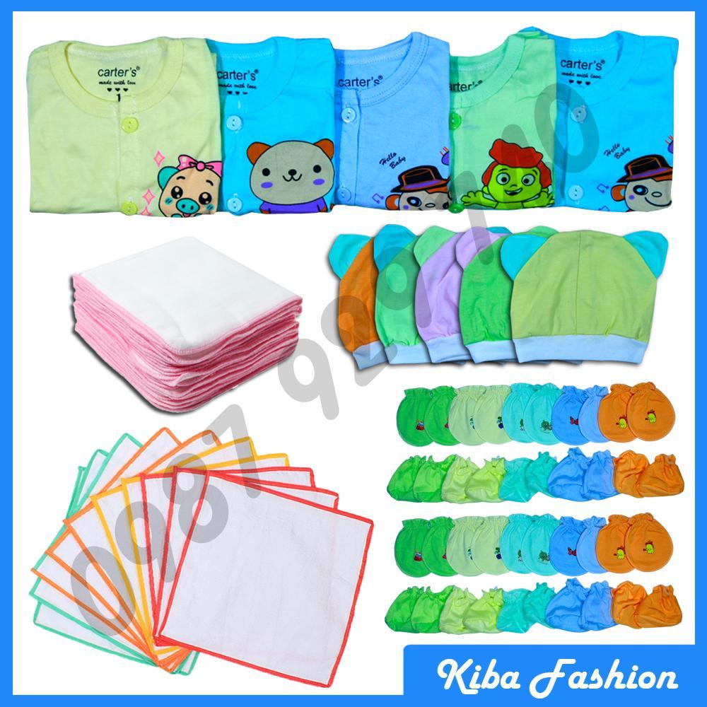 Combo 50 Món Đồ Dùng Cho Bé Sơ Sinh từ 2-8kg ( áo màu cộc tay nút giữa)  60ACMKS - KIBA.shop ( quần áo trẻ sơ sinh đồ cho trẻ sơ sinh )