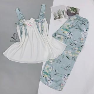[ Babi mama ] Set Quần Áo Nữ Mặc Nhà Bộ Đồ Ngủ Pijama Lụa Áo 2 Dây Kèm Quần Dài Mát Mịn - BP01.1 thumbnail