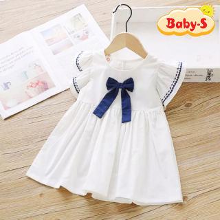 Đầm cotton cánh tiên dáng xòe phối nơ phong cách Hàn Quốc đáng yêu cho bé gái 3-8 tuổi Baby-S – SD032