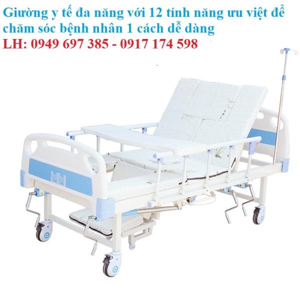 Giường chăm sóc bệnh nhân đa năng 4 tay quay cao cấp