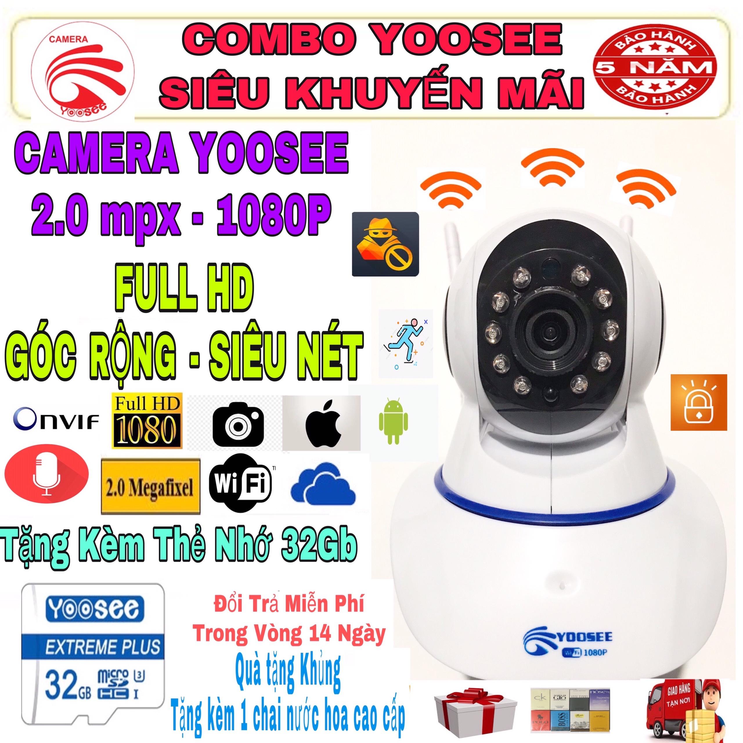 (KÈM Thẻ Nhớ SD YOOSEE 32 GB. BẢO HÀNH 5 Năm) Camera IP Wifi Yoosee 3 Râu xoay 360 độ, độ phân giải FULL HD 2.0MP 1920x1080p Không Dây, Camera trong nhà, ngoài trời, Camera hồng ngoại tích hợp ghi âm, lưu trữ dữ liệu.