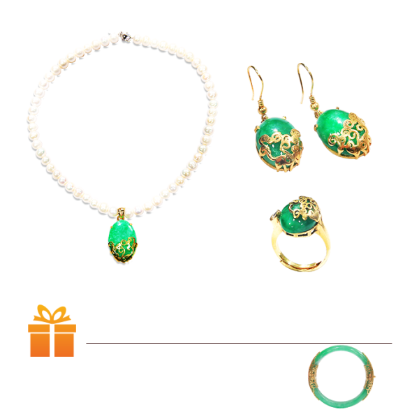 Bộ trang sức ngọc trai cẩm thạch Vaadoo: Dây chuyền & Nhẫn & Bông tai | TẶNG: 1 Vòng Cẩm Thạch 100% Chốt khóa mạ vàng thật