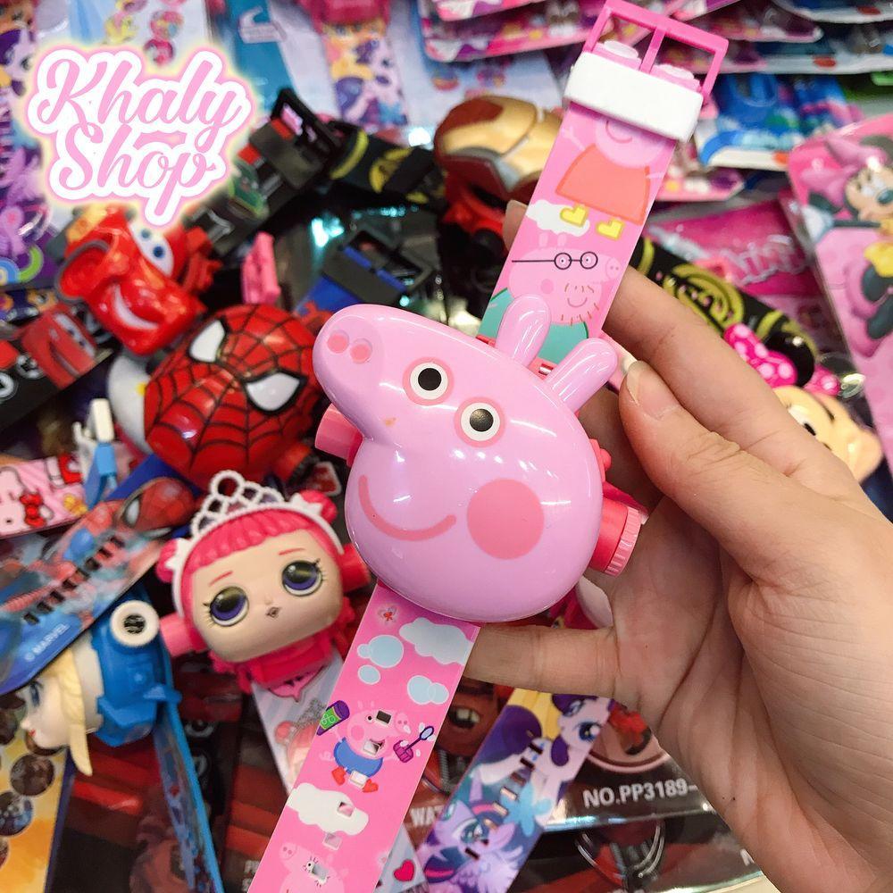 Giá bán Đồng hồ điện tử đeo tay chiếu ảnh hình heo Peppa Pig nổi 3D cho trẻ em bé gái màu hồng siêu xinh - 48NPP3189