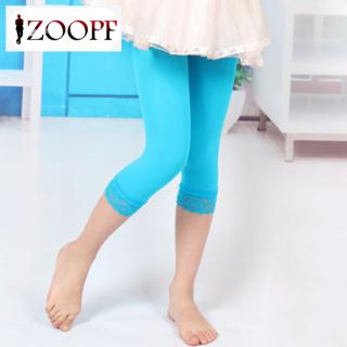 ZOOPF Kids Girls Leggings Summer Stretch Lace Skinny Capris Pants Candy Color Velvet Trousers thumbnail