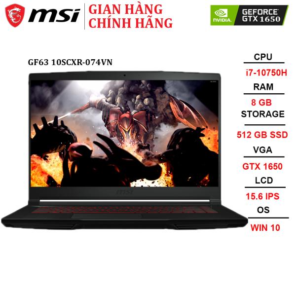 Bảng giá Laptop MSI GF63 Thin 10SCXR-074VN i7-10750H | 8GB | 512GB |GTX 1650 4GB | 15.6 FHD | Win 10 Phong Vũ
