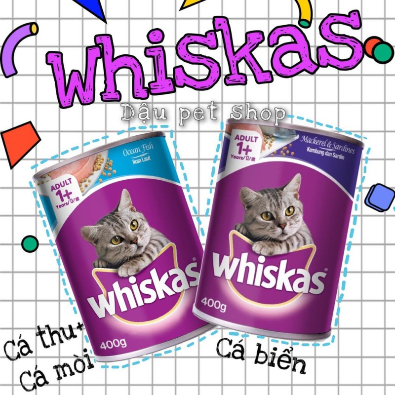 Pate Whiskas lon 400gr cho mèo, đa dạng mẫu mã, chất lượng sản phẩm đảm bảo và cam kết hàng đúng như mô tả
