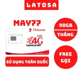Sim 4G Vinaphone Itelecom May77 tặng 90GB data mỗi tháng, miễn phí gọi nội mạng sử dụng được toàn quốc 77K Tháng - LATOSA thumbnail