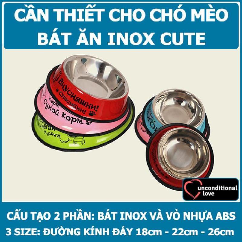 Bát Ăn Inox Nhiều Mầu Cho Thú Cưng BA06 - Size 22cm