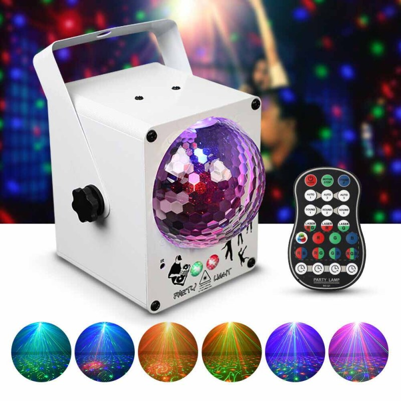 LED Laser Projector Stage Lighting Party Club RGB Sound Active Disco Ball Lights uk plug