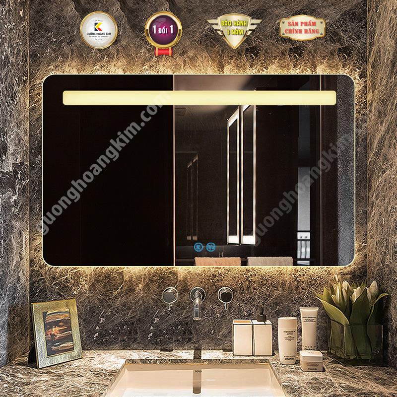 Gương đèn led nhà tắm hoàng kim Gương led chữ nhật cảm ứng phòng tắm cao cấp kích thước 40x60 - guonghoangkim mirror
