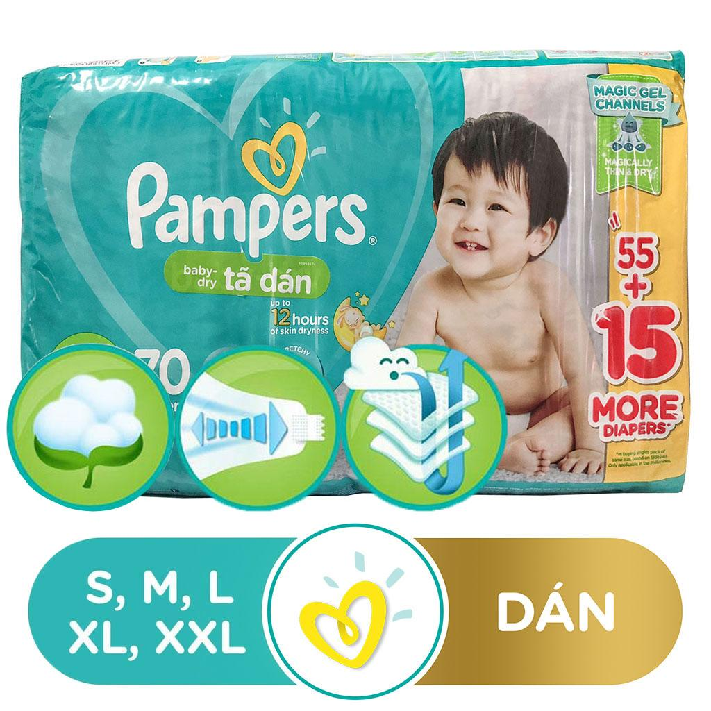 Bỉm - Tã Dán Pampers Baby-Dry Bịch Đại Size M70/L68/XL60 Siêu Ưu Đãi tại Lazada