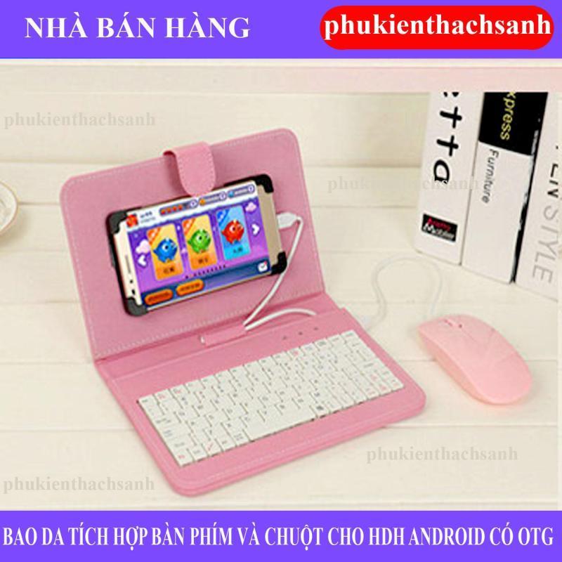 Giá Combo bao da bàn phím kèm chuột + lót chuột cho điện thoại, máy tính bảng từ 4.5-8 inch (Hồng)
