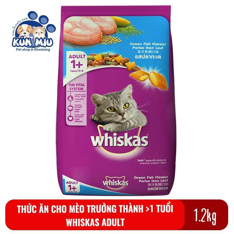 Thức ăn cho mèo trưởng thành trên 1 tuổi Whiskas Adult túi 1.2kg