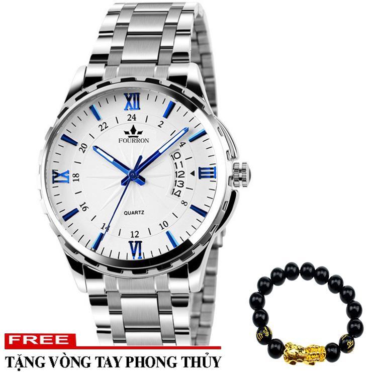 Nơi bán Đồng hồ nam FOURRON SKY6465 dây thép không gỉ cao cấp và dây mành + Tặng kèm vòng tay tỳ hưu