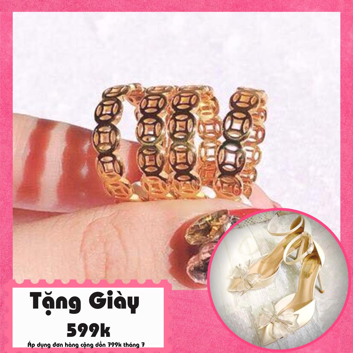 [HCM]Nhẫn mạ vàng nhẫn vàng non vàng trắng nhẫn mạ vàng thật 24k kim tiền mạ vàng phong thủy - Trang Sức GADO N117