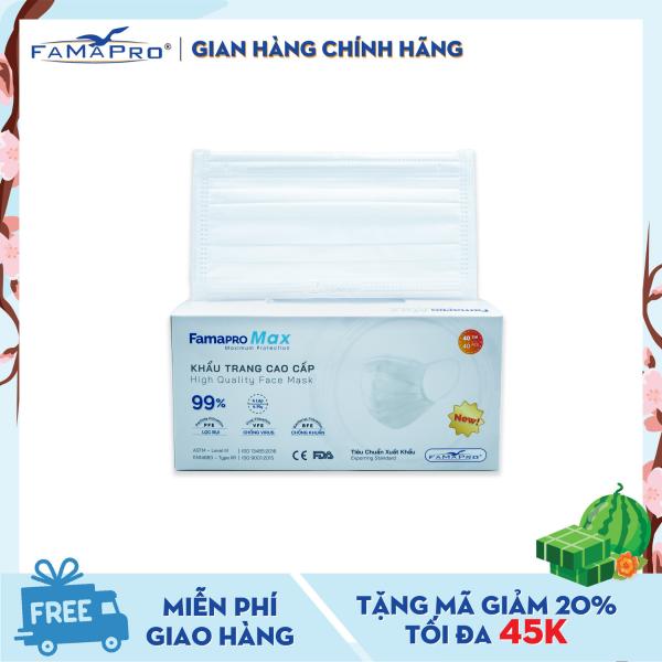 Khẩu trang y tế cao cấp 4 lớp Famapro Max kháng khuẩn (40 cái / Hộp)