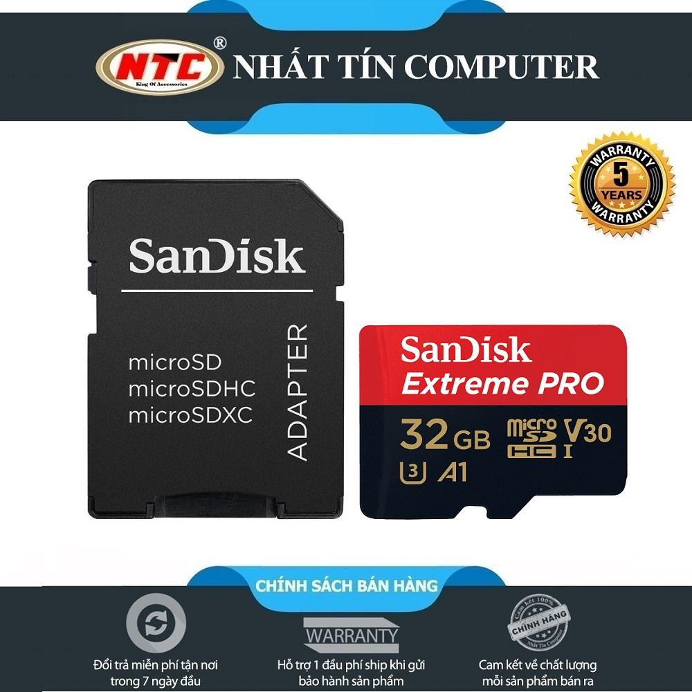Thẻ nhớ microSDHC Sandisk Extreme Pro 667X A1 V30 32GB UHS-I U3 100MB/s (Đen)