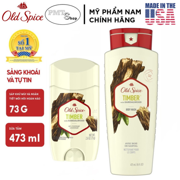 [USA] Combo Old Spice Timber with Sandalwood gồm Sữa tắm 473ml + lăn sáp khử mùi 73g Fresher Collection - Mỹ