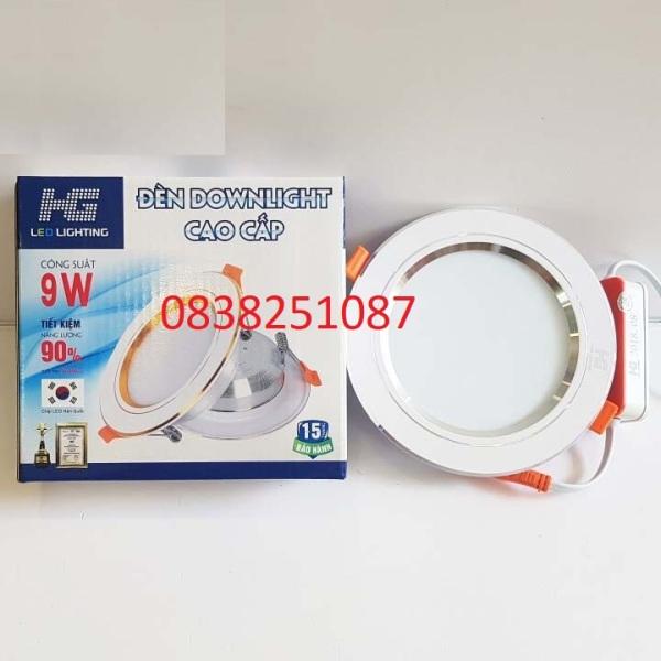 Đèn led âm trần HG 9w 3 màu viền bạc cao cấp