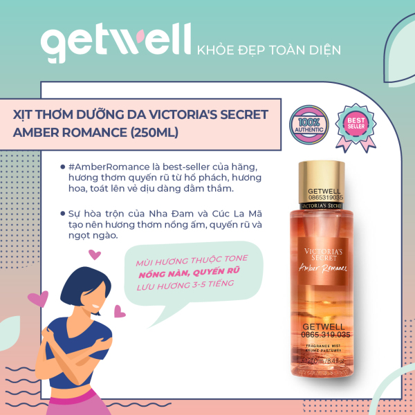 Xịt thơm Victorias Secret  Fragrance Mist - Amber Romance (250ml)