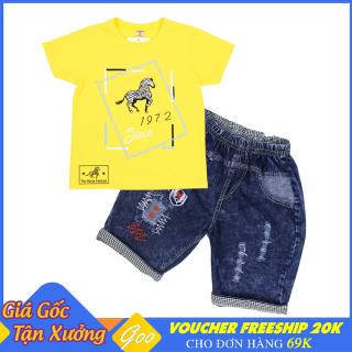 Set đồ bé trai quần Lửng Jean phối áo thun cotton 100% cho bé từ 19-36kg - Vải thấm hút mồ hôi tốt [ ẢNH THẬT 100% DO SHOP CHỤP ] thumbnail