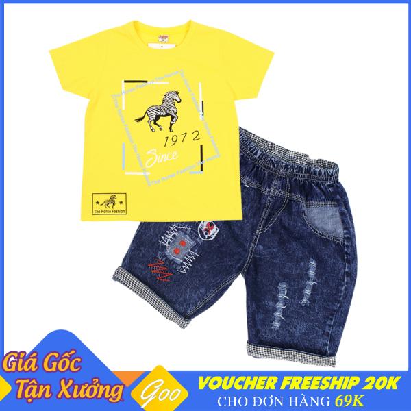 Set đồ bé trai quần Lửng Jean phối áo thun cotton 100% cho bé từ 19-36kg - Vải thấm hút mồ hôi tốt [ ẢNH THẬT 100% DO SHOP CHỤP ]