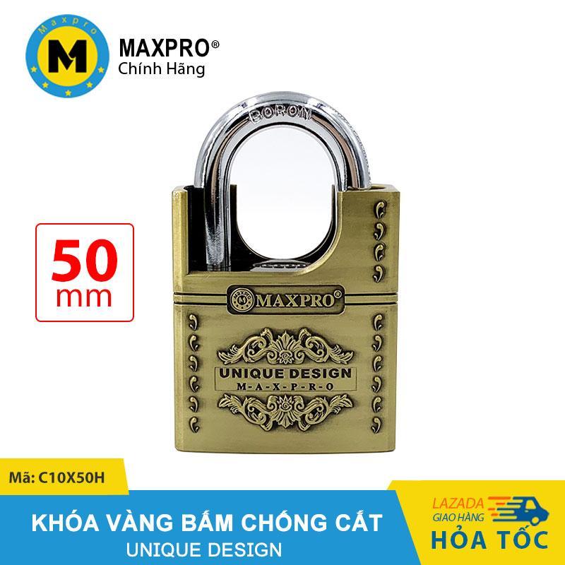 Ổ Khóa Chống Cắt Bấm Chìa Nhọn MAXPRO Vàng Hoa Văn 50mm - C10X50H