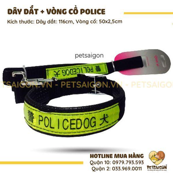 DÂY DẮT VÒNG CỔ POLICE CHO CHÓ