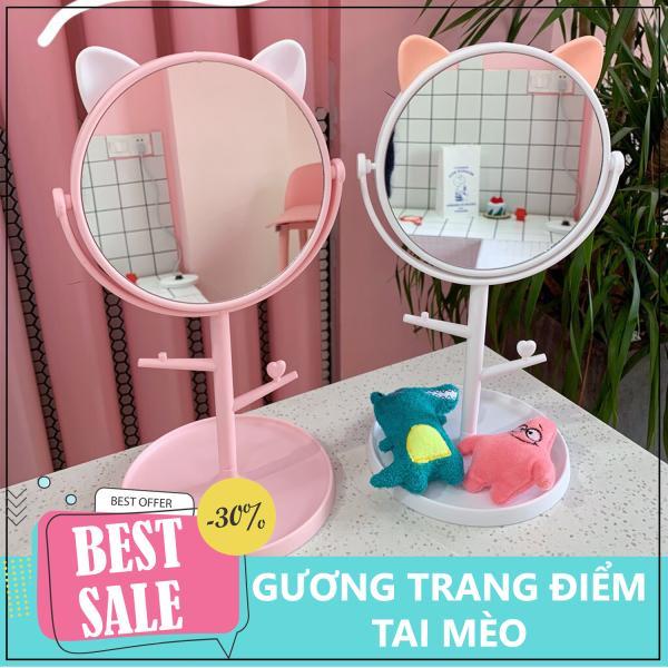 Gương trang điểm có đèn led - Gương trang điểm tai mèo - Gương trang điểm có đèn LED tròn cảm ứng 3 chế độ sáng, Gương trang điểm - Gương trang điểm gấp gọn