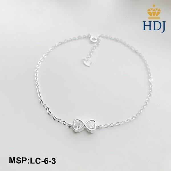 Lắc chân bạc nữ Hình Vô Cực đính đá sang trọng trang sức cao cấp HDJ mã LC-6-3
