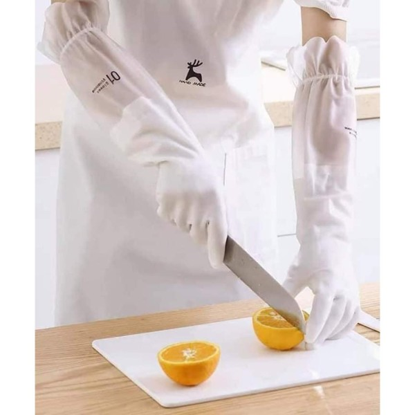 Găng tay cao su màu trắng siêu dai [MẪU MỚI] - Găng tay rửa chén cổ cao có bo thun