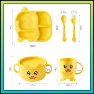 BỘ ĐỰNG ĐỒ ĂN CHO BÉ VỊT VÀNG, 1 bộ gồm 1 khay, 1 cốc, 1 bát, thìa, đũa, dĩa ăn. Chịu được nhiệt độ tối đa 120 độ C. thumbnail