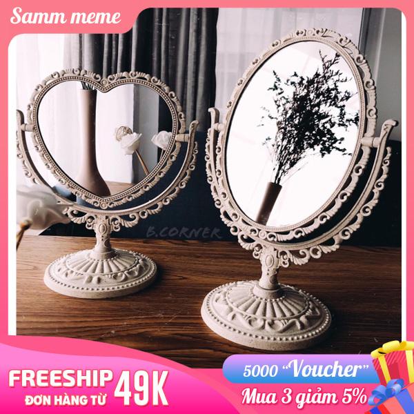 Gương để bàn trang điểm công chúa hình tim ,hình bầu dục - Gương trang điểm make up mini bản to 2 mặt gương - Gương soi trang điểm cute ,Samm meme
