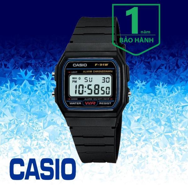 Nơi bán Đồng hồ điện tử nam dây nhựa Casio F-91W-1DG Auto Calendar, độ chính xác: +/- 30 giây mỗi tháng, Pin CR2016 tuổi thọ 7 năm