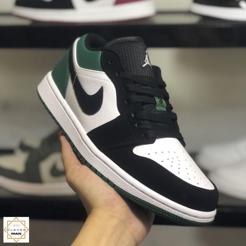 (FREESHIP+HỘP+QUÀ) Giày thể thao AIR JORDAN 1 Low White Black Mystic Green xanh đen trắng cổ thấp
