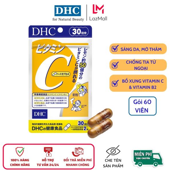 Viên uống đẹp da DHC  Bổ sung Vitamin C Nhật Bản, giảm mụn thâm,  giúp gia trắng sáng, mịn màng, gói 60 viên cao cấp