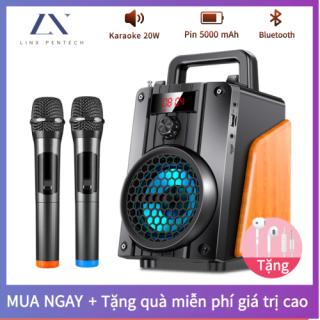 Loa Bluetooth Karaoke Không Dây (Micro Không Dây 2) Hát Công Suất Lớn 20W + Điều Khiển Từ Xa Đầu Đọc Thẻ Loa Gỗ Với Pin Dung Lượng Lớn 5000MAH thumbnail