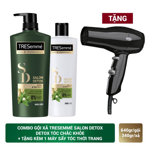 Combo Dầu gội 640Gr và Dầu Xả 340Gr TRESemmé Salon Detox Gừng Và Trà Xanh Detox Tóc Chắc Khỏe, tặng kèm Máy sấy tóc thời trang