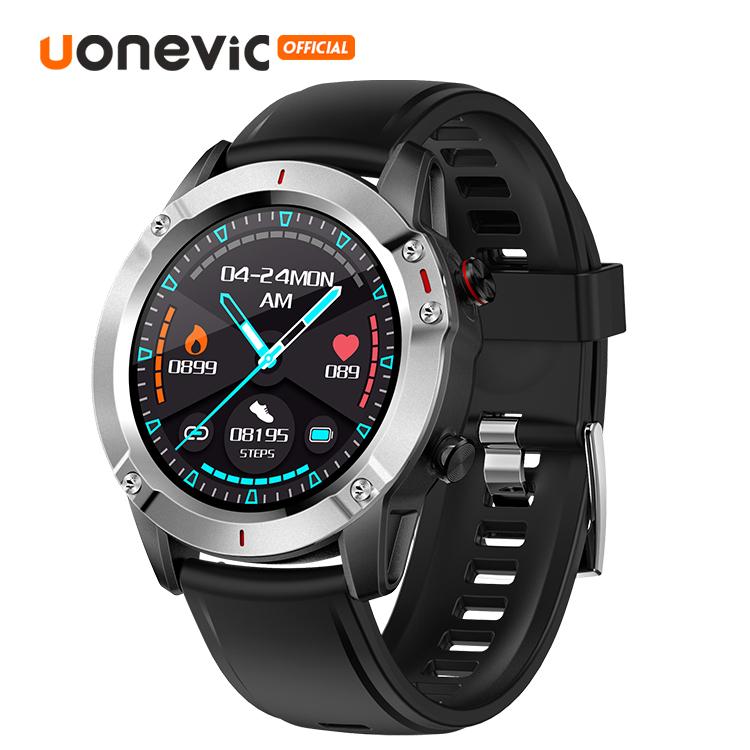 Đồng hồ thông minh Uonevic SHOCK G1 màn hình 46mm cho điện thoại Android IOS chống nước IP67 theo dõi hoạt động (đen/bạc) - INTL