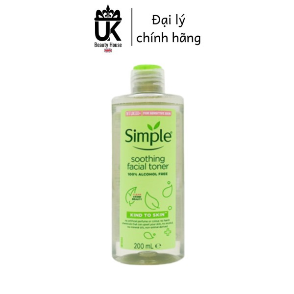 Nước hoa hồng soothing facial toner simple cân bằng ẩm cho da 200ml