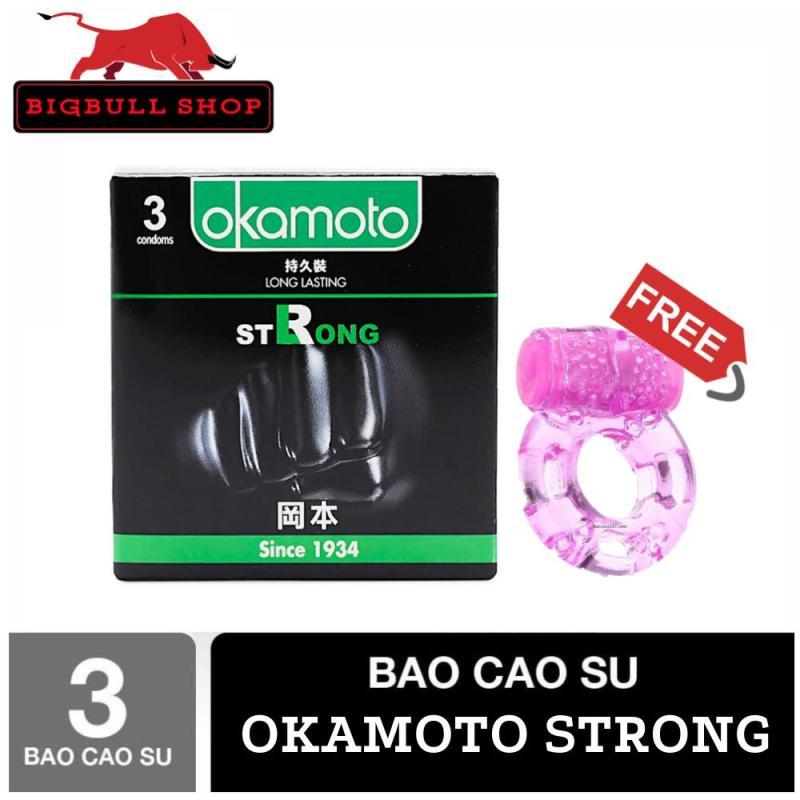 [Hộp 3 bao cao su tặng kèm vòng massage] Bao Cao Su Cao Cấp Okamoto Strong Siêu Kéo Dài Thời Gian - Bigbullshop cao cấp